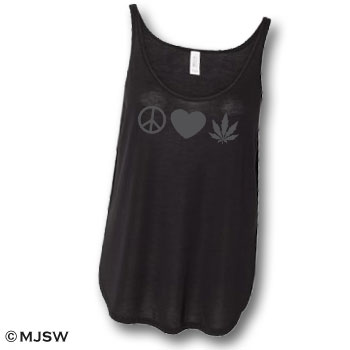 peace love cannabis ganja weed legalize tank top black slub